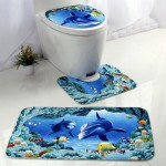 European and American Style Underwater World Printing Pattern Toilet Mat Three-piece Suit