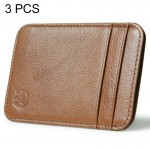 3 PCS XIAO YUAN XIANG Genuine Leather 5 Card Pocket Sleeve Wallet Coin Purse Credit Card Holder, Size: 10.6cm x 7.2cm, Random Co