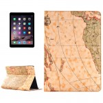 Retro World Map Pattern Leather Case with Holder & Card Slots & Wallet for iPad Air 2, Random Delivery(Yellow)