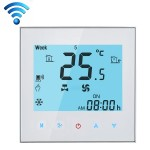 LCD Display Air Conditioning 4-Pipe Programmable Room Thermostat for Fan Coil Unit, Supports Wifi (White)