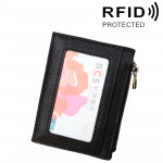 Cowhide Leather Solid Color Zipper Card Holder Wallet RFID Blocking Card Bag Protect Case Coin Purse, Size: 11*8*1.5cm(Black)