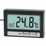 Dual Way (Indoor and Outdoor) LCD Digital Thermometer with Clock Display Function, TM-2 (Black)