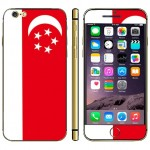 Singapore Flag Pattern Mobile Phone Decal Stickers for iPhone 6 Plus & 6S Plus