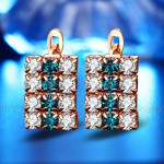 1 pair of 18 k gold rectangle shape sterling silver crystal stud earring for women, 16*9 mm(Gold)