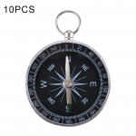 10 PCS Outdoor Sports Camping Hiking Pointer Guider Aluminum Alloy Compass Hiker Navigation with Keychain, Random Color Delivery