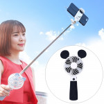 Portable Lovely Style Mini USB Charging Handheld Small Fan with Selfie Stick (Black)