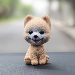 High-grade Shaking Head Dog Car Ornaments Resins Lovely Pomeranian Cartoon Dog New Year Gifts with Double-sided Adhesive Tape