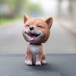 High-grade Shaking Head Dog Car Ornaments Resins Lovely Shiba Inu Cartoon Dog New Year Gifts with Double-sided Adhesive Tape