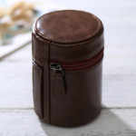 Small Lens Case Zippered PU Leather Pouch Box for DSLR Camera Lens, Size: 11*8*8cm(Coffee)