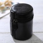 Small Lens Case Zippered PU Leather Pouch Box for DSLR Camera Lens, Size: 11*8*8cm(Black)