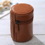 Small Lens Case Zippered PU Leather Pouch Box for DSLR Camera Lens, Size: 11*8*8cm(Brown)