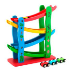 Children Wooden Sliding Car Game Motor Racing Track Toy Ramp Racers with 4 Cars