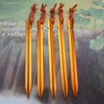 5 PCS Aluminium Alloy Tent Peg Nail Outdoor Traveling Tent Accessories with Rope, Length: 18cm(Yellow)