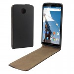 Vertical Flip Magnetic Button Leather Case for Google Nexus 6
