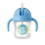 Food Grade Plastic Child Cute Sippy Water Bottle With Handle(Blue 270ml)