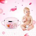 225ml Stainless Steel Thermal Insulated Cartoon Style Bowl With Cover And Handles For Child(Pink)