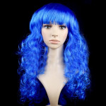 Colorful Wild-Curl Up Party Headwear Wavy Long PET Wigs For Female(Royal Blue)