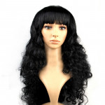 Colorful Wild-Curl Up Party Headwear Wavy Long PET Wigs For Female(Black)