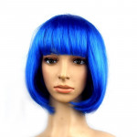 Colorful Party Cosplay Headwear Straight Short PET Wigs For Female(Royal Blue)