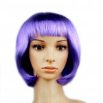 Colorful Party Cosplay Headwear Straight Short PET Wigs For Female(lavender)