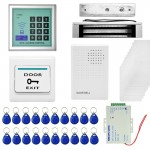 MJPT008 RFID Access Control System Kits + Magnetic Lock + 20 ID Keyfobs + 10 ID Cards + Power Supply + Door Bell + Exit Button