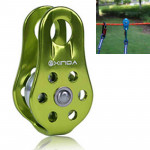 Single Fixed Pulley Mountaineering Rope Climbing Rappelling Survival Equipment (Green)