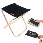 CLS Outdoor Portable Auminum Alloy Fishing Barbecue Folding Stool, Size: 24.8*22.5*27cm (Black)