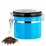 800ml Stainless Steel Sealed Food Coffee Grounds Bean Storage Container with Built-in CO2 Gas Vent Valve & Calendar (Blue)