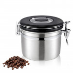 800ml Stainless Steel Sealed Food Coffee Grounds Bean Storage Container with Built-in CO2 Gas Vent Valve & Calendar (Silver)