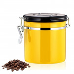 800ml Stainless Steel Sealed Food Coffee Grounds Bean Storage Container with Built-in CO2 Gas Vent Valve & Calendar (Yellow)