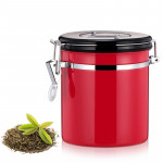 1200ml Stainless Steel Sealed Food Coffee Grounds Bean Storage Container with Built-in CO2 Gas Vent Valve & Calendar (Red)