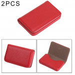 2 PCS Premium PU Leather Business Name Card Case with Magnetic Closure , Size: 10*6.5*1.7cm(Red)