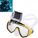 Water Sports Diving Equipment Diving Mask Swimming Glasses with Mount for GoPro Hero 4 / 3+ / 3 / 2 / 1(Yellow)