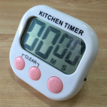 Digital Kitchen Timer Electronic Alarm Magnetic Backing with LCD Display for Cooking Baking Sports Games Office(Pink)