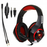 Beexcellent GM-1 Stereo Bass Gaming Wired Headphone with Microphone & LED Light, For PS4, Smartphone, Tablet, PC, Notebook(Red)