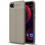 For HTC Desire 12 Litchi Texture Soft TPU Protective Back Cover Case (Grey)