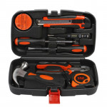 9 Piece Tool Set General Household Hand Tool Kit with Toolbox Storage Case