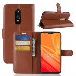For OnePlus 6 Litchi Texture Horizontal Flip Leather Case with Holder & Card Slots & Wallet(Brown)