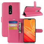 For OnePlus 6 Litchi Texture Horizontal Flip Leather Case with Holder & Card Slots & Wallet(Magenta)
