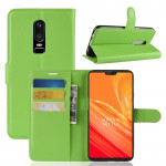 For OnePlus 6 Litchi Texture Horizontal Flip Leather Case with Holder & Card Slots & Wallet(Green)
