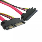 15 + 7 Pin Serial ATA Male to Female Data Power Extension Cable for SATA HDD, Length: 50cm