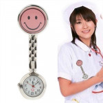 Cute Yellow Smiley Face Style Nurse Quartz Watch with Clip (Pink)