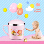 225ml Stainless Steel Thermal Insulated Cartoon Style Mug With Cap And Handle For Child(Pink)