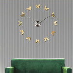 Bedroom Home Decoration Frameless Butterfly Shaped Large DIY Wall Sticker Mute Clock, Size: 100*100cm(Gold)