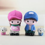 Resin Crafts Hatted Lover Dolls Chain Puppy Dog Ornaments Room Car Decoration Gift, Random Style Delivery