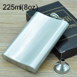 225mL (8oz) Outdoor Sports Handy Home Travel Wild Stainless Steel Portable Hip Flask(with Small Funnel)(Silver 225mL (8oz))