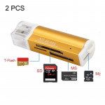 2 PCS Multi All in 1 USB 2.0 Micro SD SDHC TF M2 MMC MS PRO DUO Memory Card Reader(Gold)