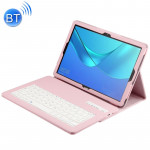 Detachable Bluetooth Keyboard + Litchi Texture Horizontal Flip Leather Case for Huawei MediaPad M5 10.8 inch, with Holder (Pink)