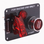 Carbon Fiber Flip-up Start Ignition Switch Panel and Accessories for Racing Sport (DC 12V)
