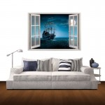 Wall Decor 3D Window Scenery Removable Wall Stickers, Size: 85cm x 60cm